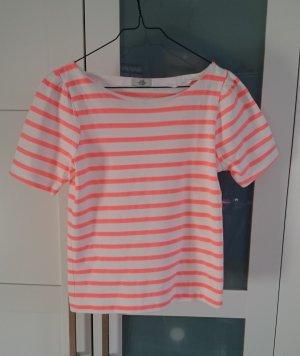 Top Shirt weiß neon orangerot gestreift von Mads Nørgaard, Gr. XS