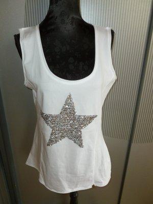 Top Shirt weiß Stern Pailletten Neu Tredy