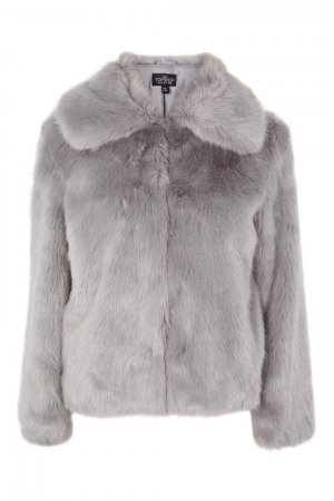 Top Shop Faux Fur In Ice Blue