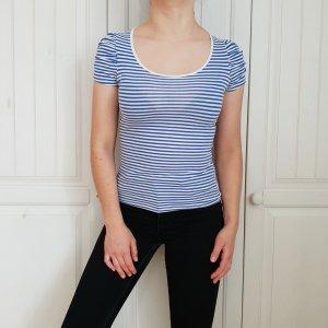 Top Streifen T-shirt Shirt Fishbone S blau weiß Tshirt Croptop Tanktop Hemd Bluse