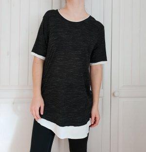 Top T-Shirt shirt tshirt T-shirtkleid Shirtkleid topkleid Tshirtkleid grau schwarz weiß Pulli&bear XL