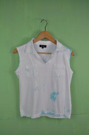 Top / Tanktop in Weiß mit Ozeanblau mit Brusttaschen