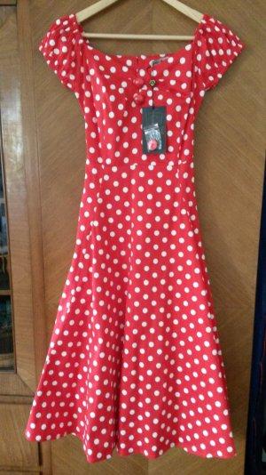 top vintage 50er-Jahre Kleid rot mit weißen Polkadots