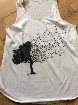 Top Vögel Baum Statement weiß  S/M