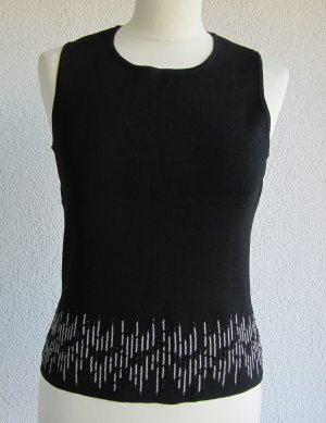 Blouse Top black-silver-colored rayon