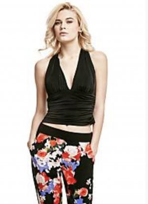 Guess Crop-top noir fourrure artificielle