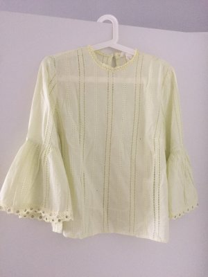 H&M Frill Top pale yellow cotton