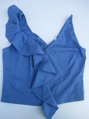 H&M Crop-top bleu acier