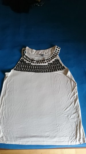 H&M Basic topje beige-zwart Viscose