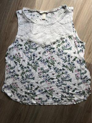 H&M Top de encaje blanco-verde bosque