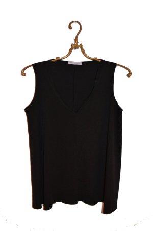 Zara T-shirt col en V noir polyamide