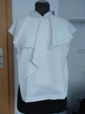 Zara Basic Flounce Top white polyester