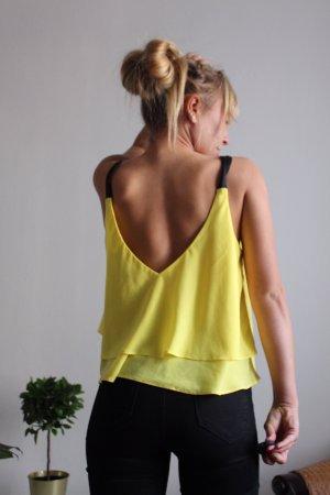 Zara Top de tirantes amarillo-negro