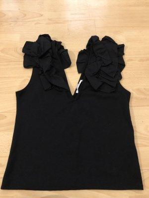 Zara Trafaluc Flounce Top black