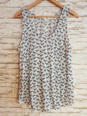 H&M Basic topje zwart-wolwit