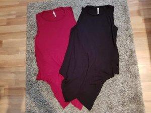 Fishbone Lange top zwart-rood