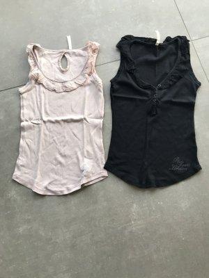 Pepe Jeans Top a balze nero-rosa pallido
