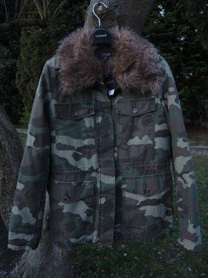 Topshop 2 in 1 Parka Camo Camouflage mit herausnehmbarem Kunstfellfutter Fake Fur