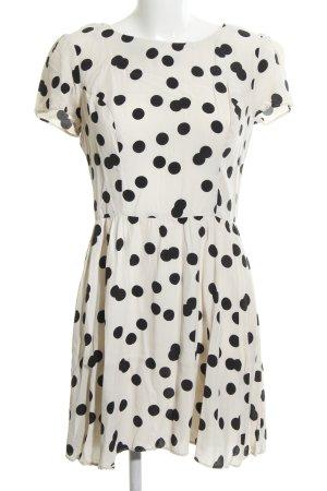 Topshop A-Linien Kleid weiß-schwarz Punktemuster Casual-Look