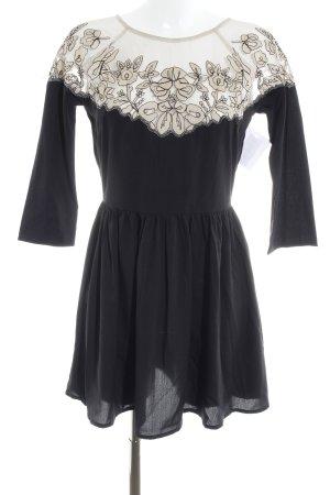 Topshop A-Linien Kleid schwarz-creme Blumenmuster Netz-Optik
