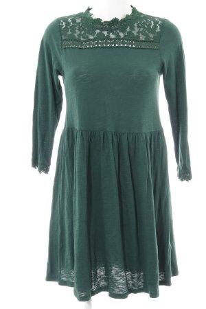 Topshop A-Linien Kleid waldgrün Lochstrickmuster Casual-Look
