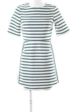 Topshop A-Linien Kleid weiß-waldgrün Streifenmuster 70ies-Stil