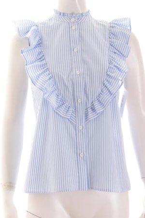 Topshop ärmellose Bluse weiß-himmelblau Streifenmuster Romantik-Look