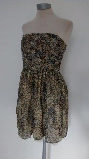 Topshop Bandeaukleid Kleid Mini kurz Chiffon Minikleid Gr. M 38 Sommerkleid