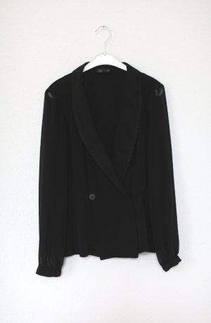 Topshop Bluse Blazer Gr. 38 Sheer Chiffon schwarz Doppelreiher Vintage Stil