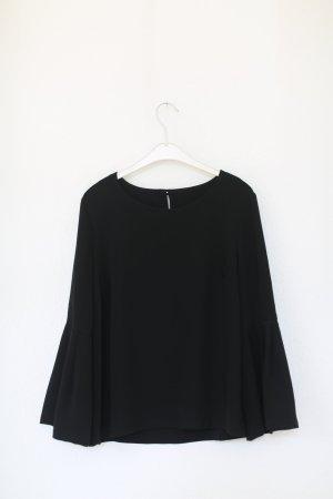 Topshop Bluse Shirt Gr. 38 schwarz XXL Sleeves Ärmel Vintage Look