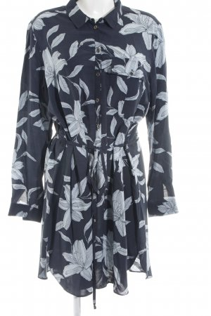Topshop Blouse Dress slate-gray-sage green floral pattern casual look