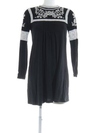 Topshop Blusenkleid schwarz-weiß Blumenmuster Casual-Look