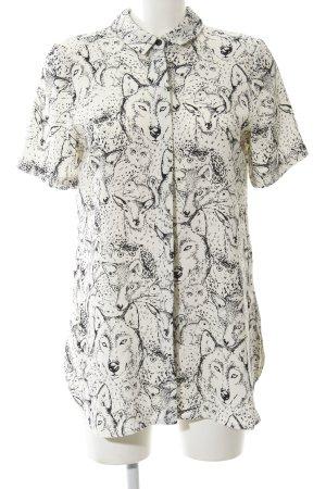 Topshop Blusenkleid wollweiß-schwarz abstraktes Muster Party-Look