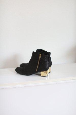 Topshop Boots im Vintage 60s Stil mit goldenem Absatz Echtes Leder schwarz Gr.38
