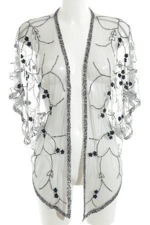 Topshop Cardigan weiß-schwarz Blumenmuster extravaganter Stil