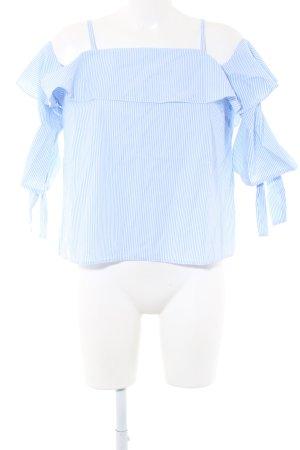 Topshop Blusa tipo Carmen azul-blanco estampado a rayas look casual