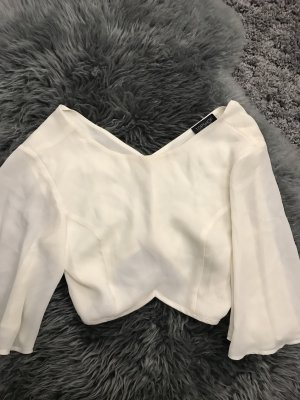 Topshop Cropped Shirt white-cream