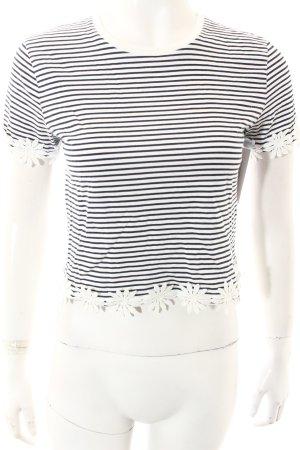 Topshop Cropped Shirt dunkelblau-weiß Streifenmuster Casual-Look