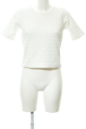 Topshop Cropped Shirt weiß abstraktes Muster schlichter Stil