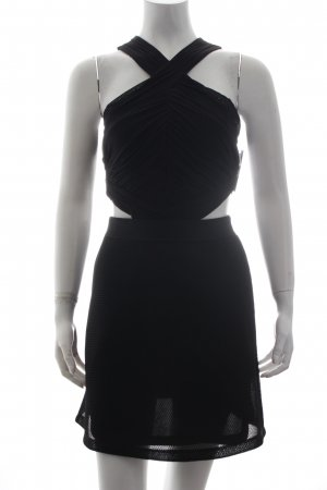 Topshop Cut-Out-Kleid schwarz Materialmix-Look