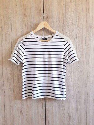 Topshop Cut out Shirt schwarz weiß Gr. 38