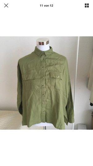 TOPSHOP Damen Hemd Bluse Kaki Grün T-Shirt Top Military 38 Oversize S M