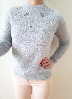 Topshop Deko Pullover 32 34 XS S grau knit Mohair Pulli Rollkragen Oberteil Bluse Shirt Longpulli NP 65€