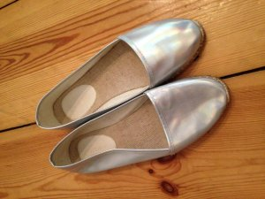 Topshop Mocasines gris claro-color plata