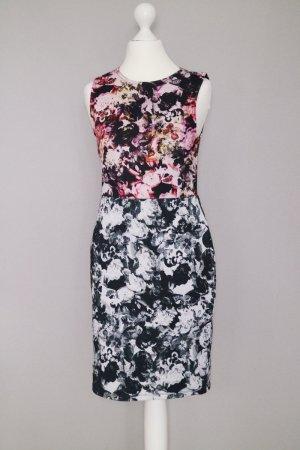 Topshop Etui Kleid Gr. 38 Blumen Druck Print rosa schwarzweiß