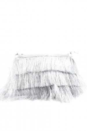 Topshop Bolso de flecos color plata estilo extravagante