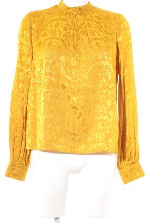 Topshop Glanzende blouse goud Oranje bloemen patroon extravagante stijl