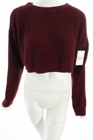 Topshop Grobstrickpullover karminrot Casual-Look