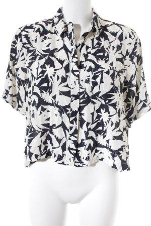 Topshop Hemd-Bluse weiß-dunkelblau florales Muster Street-Fashion-Look