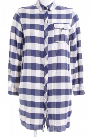 Topshop Abito blusa camicia bianco-blu motivo a quadri stile casual